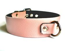 "1-1/4"" Baby Pink Leather BDSM slave Collar - Thick Welded Dee Ring"