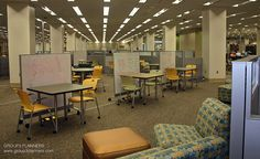 Draughon Learning Commons, Draughon Library, Auburn University supports the student population with collaborative study areas as part of the university's library. Mobile study chairs and tables, marker boards, modular study rooms are supported with WIFI and a generous electrical distribution system.