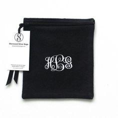 "Anti Tarnish Silver Storage Bag 6"" x 6"" - Monogrammed - Sterling Silver Storage Bags, Zippered, for Holloware, Silverware, Simple Elegance 1"