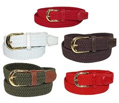 CTM Women's Elastic Braided Stretch Belt, Medium, Black Made by #CTM