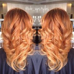 Ginger + strawberryblonde color-melt.  (For her, a second session of balayage was required.)