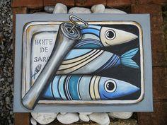 """Tableau """"Boîte à sardines"""" à l'acrylique : Peintures par les-toiles-de-mer-de-syl Fish Artwork, Beach Artwork, Cerámica Ideas, Jellyfish Art, Art Prompts, Funky Art, Tile Art, Pebble Art, Hobbies And Crafts"""