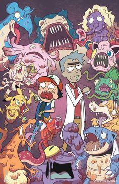 Rick und Morty / Pokémon - Rick and morty - Pokemon Rick And Morty Pokemon, Comic Cat, Rick And Morty Crossover, Rick Und Morty, Rick And Morty Poster, Fan Art, Dope Art, Animes Wallpapers, Cartoon Art