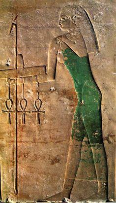 Relief du temple de Sahourê à Abousir, Ve dynastie, calcaire peint