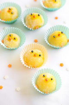 Microwave lemon mochi chicks recipe for Easter