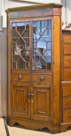 Allpress Antiques Furniture Melbourne Victoria Australia: George III country oak standing corner cabinet - AA0934