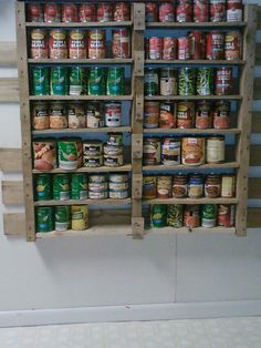 My second pallet project, Canned food storage shelves. You will notice that some of the sides are missing, I left it like that because I hate perfection and liked the look of it.