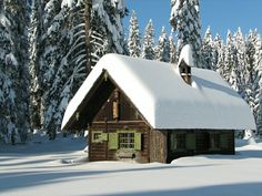 cosy cottage in the snow