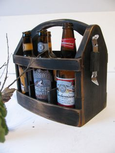 Finally the perfect man gift! Handmade beer bottle six pack carrier with magnetic bottle opener.