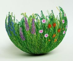innovative textile art by Anne Honeyman - free machine embroidering on soluble fabric large green bowl