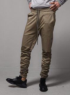 Seaming Knee Zipped Shirring Jogger $57.60  #men #fashion #style #street #jogger #pants #shirring #cargo #cozy #khaki #black
