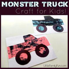 Super Monster Truck Crafts For Kids Children 62 Ideas Crafts For Boys, Projects For Kids, Art For Kids, Easy Crafts, Spring Projects, Monster Trucks, Monster Truck Party, Activities For Boys, Craft Activities