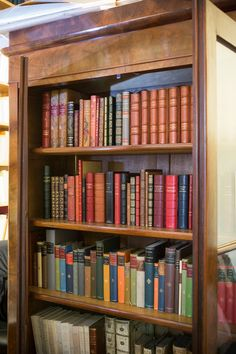 Modern bindings in antique bookshop Le Feu Follet, Paris.