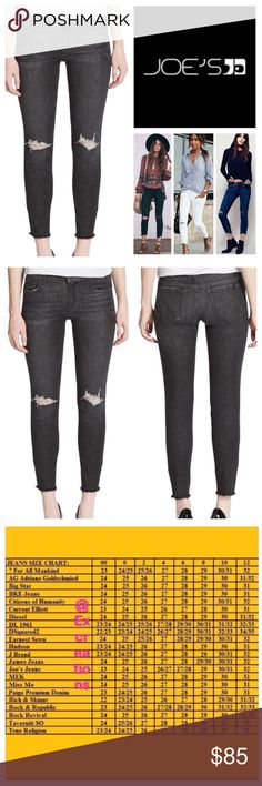 """Joe's Jeans Eden Distressed Skinny Jeans.  NWT. Joe's Jeans Eden Wash (Faded Black) Distressed Jeans, 59% cotton, 39% modal, 2% elastanne, machine washable, 30"""" waist, 8.75"""" front rise, 13"""" back rise, 26.5"""" inseam, 10"""" leg opening all around, soft and stretchy denim, fading, distressed, five pockets, belt loops, zip fly button front closure, frayed hemline, brand logo on back pocket, measurements are approx. NO TRADES Joe's Jeans Jeans Skinny"""