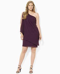 Lauren Ralph Lauren Plus Size Dress, One-Shoulder Georgette Batwing - Plus Size Dresses - Plus Sizes - Macy's