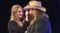 """CMA winner shines a light on wife and bandmate, Morgane Stapleton, during nightly cover song.  Awwwww """"You Are My Sunshine"""" with Chis as back up for his lovely wife, I love this!"""