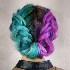 Hair color aqua and purple