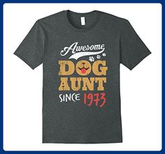 Mens Awesome Dog Aunt Since 1973 Funny 44th Birthday T-Shirt 3XL Dark Heather - Relatives and family shirts (*Amazon Partner-Link)