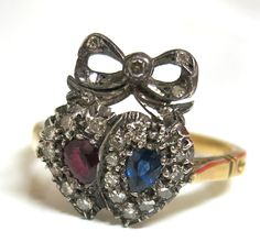 Victorian Double Heart Ring With Ruby, Sapphire & Diamonds from thepearl on Ruby Lane