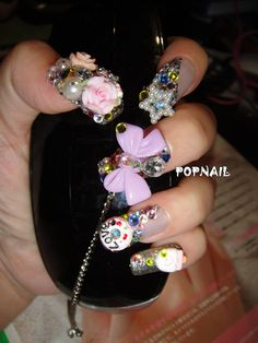 bling Japanese nails bow 3D Fake Nails Set  by blingpopnails, $24.99