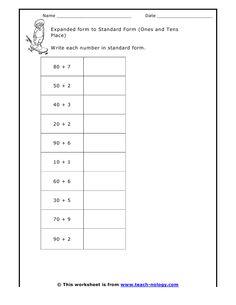 math worksheet : expanded form double digits  expanded form worksheets and place  : Math Expanded Form Worksheet