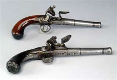 18th century Flintlock pistols, 50 caliber.