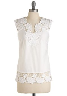 Fun in the Sunroom Top - Long, White, Solid, Embroidery, Casual, Sleeveless, Summer, Cotton
