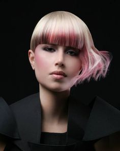 Beautiful pink hair color design by Val Meades of Montreal, Canada. #hotonbeauty hotonbeauty.com