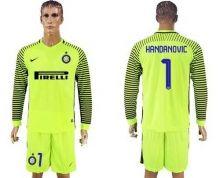 Inter Milan #1 Handanovic Green Goalkeeper Long Sleeves Soccer Club Jersey