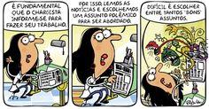 A cartunista Pryscila fala sobre uma das dificuldades enfrentadas no seu trabalho nos últimos tempos: o excesso de notícias monstruosas que assola o Brasil no momento