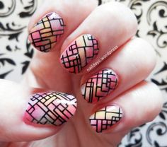 Lines with water decals on pastel water color