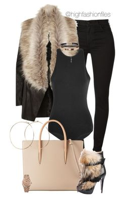 """""""Black x Fur"""" by highfashionfiles ❤ liked on Polyvore featuring River Island, Versus, Christian Louboutin, Accessorize, Jennifer Creel and Audemars Piguet"""