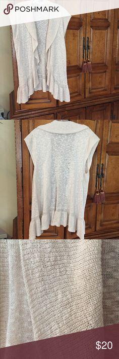 "Style & Co. Cap Sleeved Cardigan/Vest Like new! Feminine light weight vest w/6"" ruffle at the bottom. 56% ramie, 44% cotton. Machine wash. Style & Co Sweaters Shrugs & Ponchos"