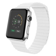 Leather Loop Band For Apple Watch 38/42MM ($22) ❤ liked on Polyvore featuring jewelry, watches, jewelry & watches, white, apple wrist watch, apple jewelry, unisex jewelry, unisex watches and white jewelry