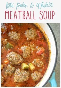 This keto. This keto meatball soup is easy to prepare, hearty, and loaded with fresh veggies and flavor. Best of all, the meatballs can be made ahead of time and it freezes nicely. Keto Meatballs, Recipes With Meatballs, Healthy Meatballs, Comida Keto, Diet Meal Plans, Keto Meal Plan, Low Carb Recipes, Paleo Keto Recipes, Whole 30 Recipes