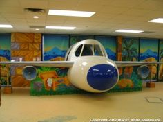 3D sculpted plane as part of a jungle-themed environment for Faith Family Church.