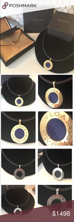 ⭐️BULGARI 18kt GOLD PENDANT& NECKLACE 💯AUTHENTIC 🎉2X HOST PICK🎉BULGARI UNISEX LARGE 18Kt GOLD/ STAINLESS STEEL PENDANT. PURCHASED AT THE BUGARI BOUTIQUE IN ST. BARTS 💯AUTH ONE SIDE IS 18Kt GOLD WITH LAPIS. OTHER SIDE IS STAINLESS STEEL AND ONYX. LEATHER NECKLACE AND PENDANT CURRENTLY SELLS FOR $3,350 AT BULGARI. EXCELLENT CONDITION EXCEPT SCRATCHES , SCRAPES ON THE STONES FRONT AND BACK SEEN IN PICTURE. HAD BULGARI INSPECT IT AND SAID STONE IS GOOD .LEATHER NECKLACE IS 19 INCHES LONG…