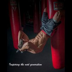 Carlos Dos Santos   situps hanging from boxing bag   #muscular #athletic