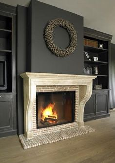 Cozy Corner Fireplace Design Ideas in the Living Room Wall Units With Fireplace, Fireplace Remodel, Fireplace Mantle, Living Room With Fireplace, Fireplace Design, Fireplace Ideas, Game Room Design, Family Room Design, Classic Fireplace