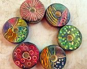 Multicolored Discs - 6 Artisan Beads Handmade from Polymer Clay