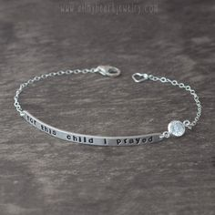 For This Child I Prayed Quote Bracelet - Sterling Silver Name Plate Bracelet - Adoption Jewelry