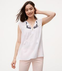 Image of Embroidered Tassel Top color White