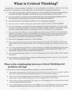 education - What is Critical Thinking What Is Critical Thinking, Critical Thinking Activities, Teaching Strategies, Teaching Resources, Teaching Art, Study Skills, Study Tips, Life Skills, Higher Order Thinking