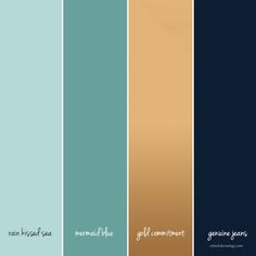 Blue and gold color scheme Making a mood board for your business is an ideal first step to develop your brand and marketing. Learn how to find inspiration and create your board. Color Schemes Colour Palettes, Gold Color Scheme, Blue Colour Palette, Bedroom Color Schemes, Bedroom Colors, Gold Palette, Color Combinations For Walls, Website Color Palette, Bedroom Ideas