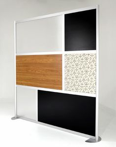 6' Modern Room Divider, Zebrano Wood Laminate, Black, Custom panels modern screens and wall dividers
