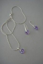 parure 2 pièces Coeurs swarovski crystal violet