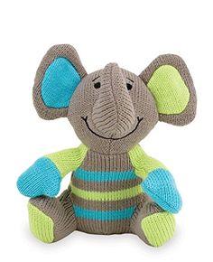 Rich Frog Sitting K'NITS Elephant Cloth Baby Toy, Gray - ...