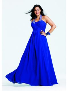 A-line Beaded Halter Long Blue Chiffon Plus Size Prom / Evening / Formal / Party Maternity Dresses 2401038