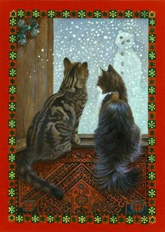 Kitties watching the snow fall! Lesley Anne Ivory
