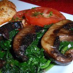 Sauteed Portobellos and Spinach Allrecipes.com